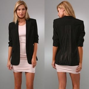 Alice + Olivia black blazer with sheer pleated back panel, silk polyester blend